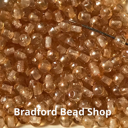 Glass Round Beads -  Orange/Rainbow Translucent  - 3mm