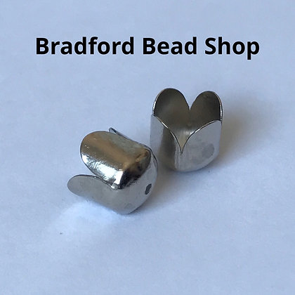 End Cups (Scolloped Edge) - 8mm x 6mm - Platinum Plated