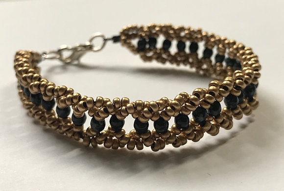 Bicone Seeded Band Bracelet Kit - Gold Beads & Black/Marble 3mm Beads