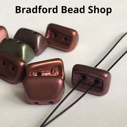 Glass 2 Hole Brick Beads - Multi Metalic Opaque Matte - 5mm x 8mm