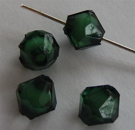 Acrylic Faceted Beads Dark Green with Opaque Centre