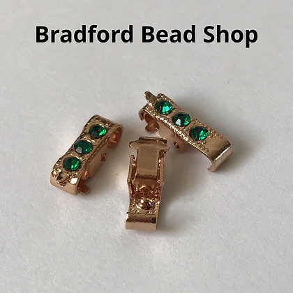 Beaded Hinge Clasps - 10.8mm x 3.7mm - Gold Plated