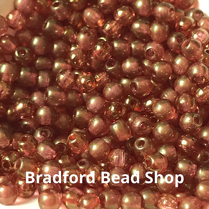 Glass Round Beads -   Red/Brown Translucent - 3mm