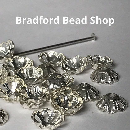 Bead End Cup (Light Pattern) - 7mm - Silver Plated