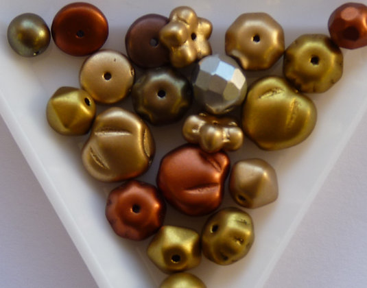 Glass Mixed Beads - Pressed - Coated