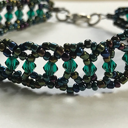 Bicone Seeded Band Bracelet- Olive Multi & Emerald Green 3mm Cut Beads