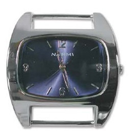 Watch Face - Solid Bar - silver colour with navy blue face