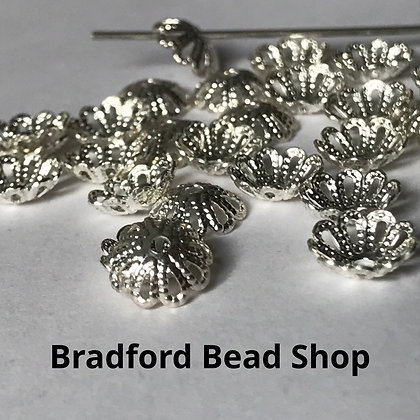 Bead End Cup (Pattern) - 7mm - Silver Plated