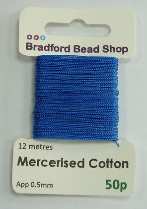 Mercerised Cotton Thread - App. 0.5mm x 12 metres - Royal Blue