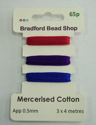 Mercerised Cotton Thread - Multi Pack - App. 0.5mm -Cerise, Purple & Navy Blue