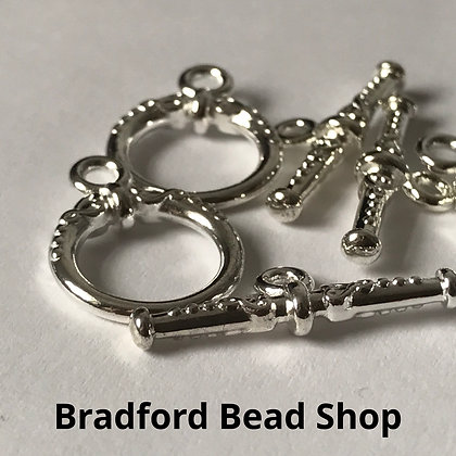 T-Bar Clasps with Pattern - 14mm - Silver Plated