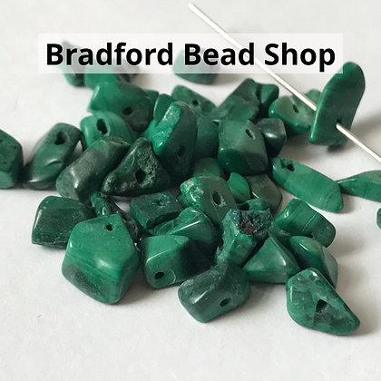 Malachite Chip Beads - app. 7- 4mm