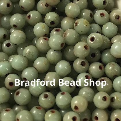 Glass Round Beads - Light Sage Opaque - 3mm