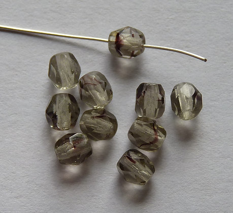 Glass Faceted Round Beads -Grey with Dark Flecks
