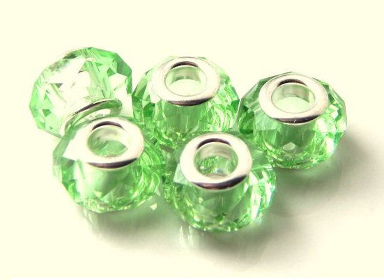 Crystal Bead - with Brass Core - Peridot -14mm x 9mm  - 1 per pack