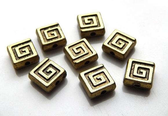 Acrylic Square Beads  - 8x8x3.5mm - Antique Bronze