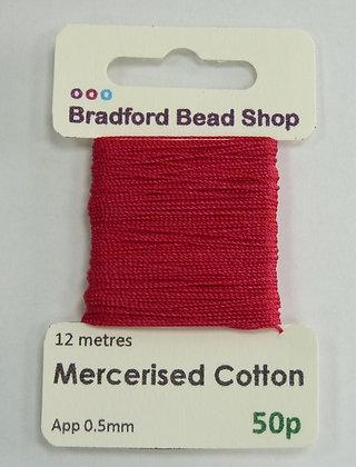 Mercerised Cotton Thread - App. 0.5mm x 12 metres - Pink