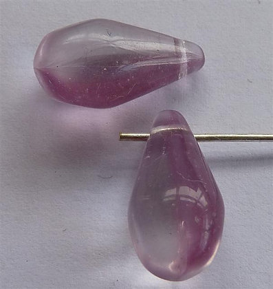 Glass Droplet Beads - Lilac & Clear Marble Transl