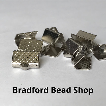 Ribbon End Crimp - Rectangle - 8x10x6mm - Platinum Plated