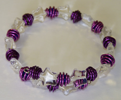 Wire Caged Beads - Memory Wire Bracelet Kit- Starry Pinks & Purples