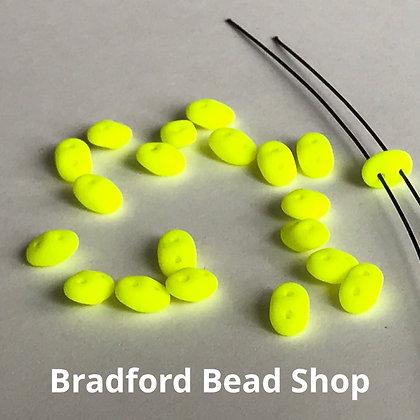 Matubo Glass Superduo Beads - Neon Yellow Opaque - 2.5mm x 5mm