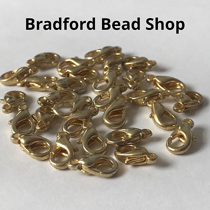 Lobster Clasps - 10mm x 5mm - Old Gold