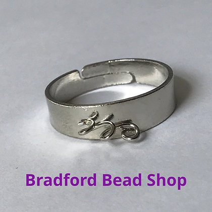 Adjustable Ring with 3 central loops - Silver Colour
