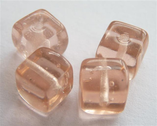 Glass Bead - Cubed Light Pink