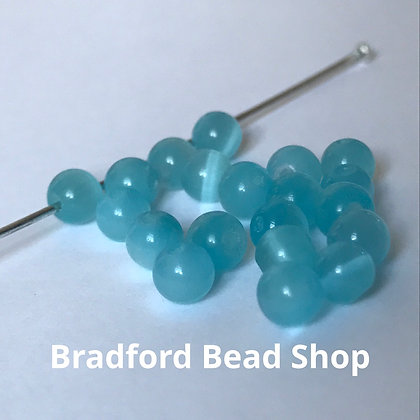 Cats Eye Beads - 4mm - Aqua Blue