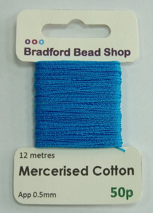 Mercerised Cotton Thread - App. 0.5mm x 12 metres -Turquoise