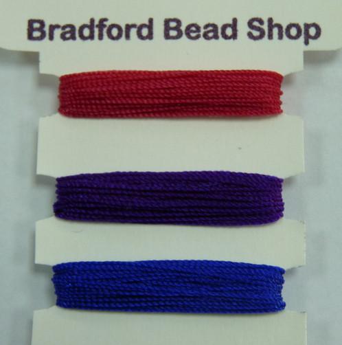Mercerised Cotton Thread - Multi Pack - App  0 5mm -Cerise, Purple & Navy  Blue