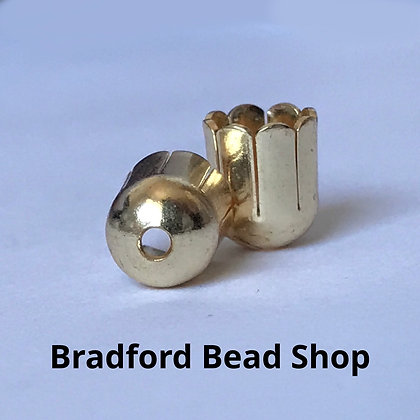 End Cups (Scolloped Edge) - 6mm x 8mm - Gold Plated