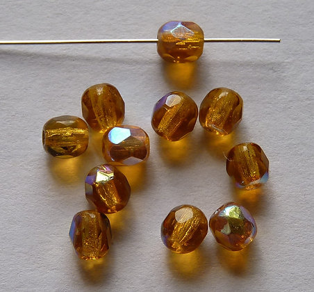 Glass Faceted Round Beads -Amber AB