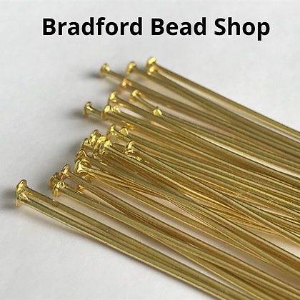 Head Pins - Gold Plated - 30mm x 0.7mm