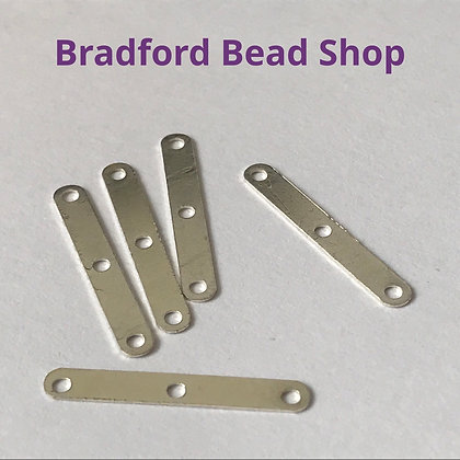 Metal Space Bar - (3 holes) - 20mm - Silver Plated