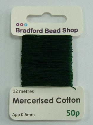 Mercerised Cotton Thread - App. 0.5mm x 12 metres -Dark Green