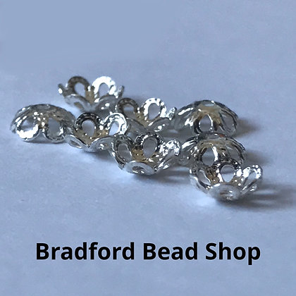 Bead End Cup (Patterned with holes) - 5mm - Silver Plated