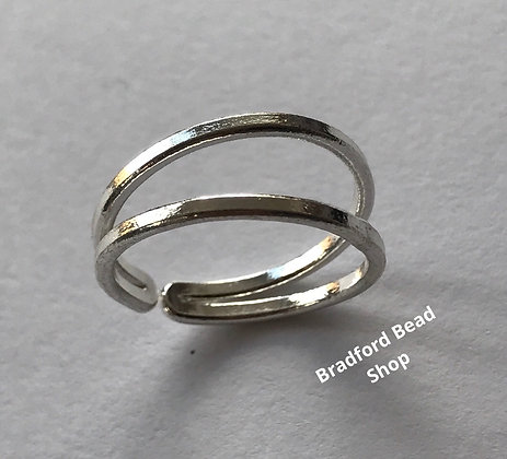 Silver Plated Adjustable Double Band Ring - 20mm