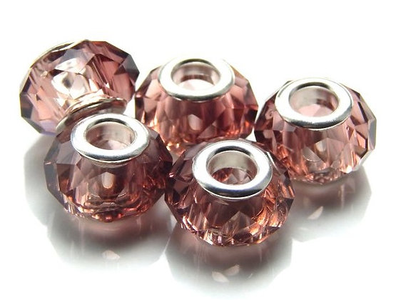 Crystal Bead - with Brass Core - Light Amethyst -14mm x 9mm  - 1 per pack