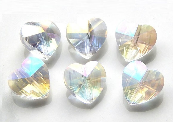 Crystal Heart Bead - Crystal AB -14mm - 1 per pack
