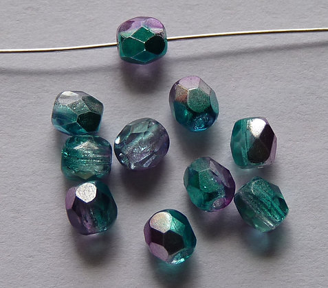 Glass Faceted Round Beads - Turquoise/Lilac Plating