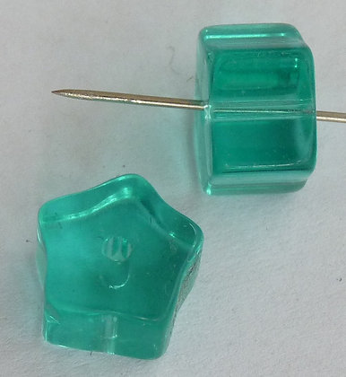 Glass Star Beads- Turquoise Transparent