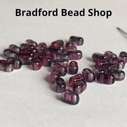 2 Hole Glass 'Oval Brick' Beads - Pink/Purple Translucent - 3mm x 5.5mm