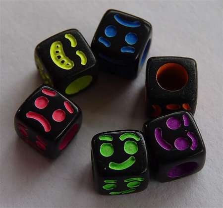 Acrylic Cubed Beads Black with Neon Coloured Faces