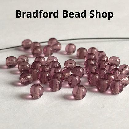 Glass Round Beads - Purple Translucent - 4mm