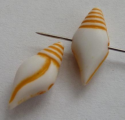 Acrylic Long Shell Beads - Peach Opaque