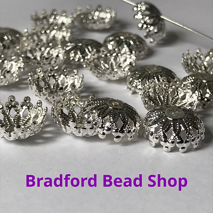 Bead End Cup (Pattern) -  11mm x 3.5mm - Silver Plated
