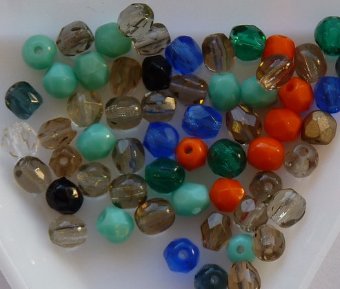 Glass Mixed Beads -  Faceted - app 5g