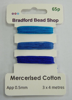 Mercerised Cotton Thread - Multi Pack - App. 0.5mm -Turquoise, Royal & Navy Blue