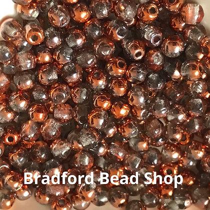 Glass Round Beads -   Crystal Translucent/Bronze AB  - 3mm